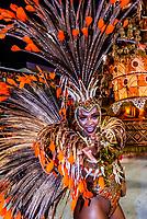 Samba dancer in the Carnaval parade of GRES Unidos do Viradouro samba school in the Sambadrome, Rio de Janeiro, Brazil.