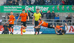 Dundee United'sPeter Pawlett tackles Falkirk's Paul Paton for a free kick. Falkirk 1 v 1 Dundee United, Scottish Championship game played 23/2/2019 at The Falkirk Stadium.