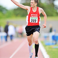 15 May 2011; Rory Chesser, Ennis Track A.C., Co. Clare,  crosses the line to win the Men's 3000m race. Woodieís DIY AAI Games, Morton Stadium, Santry, Dublin. Picture credit: Barry Cregg / SPORTSFILE *** NO REPRODUCTION FEE ***