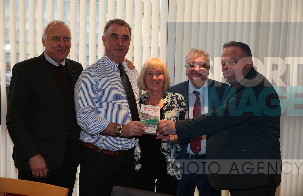 A programme from the Derek Dooley Trust Find match is presented to Club Historian John Garrett (r) during the English League One match at Bramall Lane Stadium, Sheffield. Picture date: December 26th, 2016. Pic Simon Bellis/Sportimage