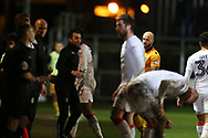 Nathan Jones, the Luton Town manager © calls out his instructions from the touchline. .EFL Skybet football league two match, Newport county v Luton Town at Rodney Parade in Newport, South Wales on Tuesday 21st March 2017.<br /> pic by Andrew Orchard,  Andrew Orchard sports photography.