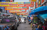 MAE KLONG - TAHILAND - CIRCA SEPTEMBER 2014: Typical street in Mae Klong, around the Maeklong Railway Market in Thailand