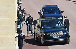 Bernhard, Hereditary Prince of Baden (left) arriving outside St George's Chapel, Windsor Castle, Berkshire, ahead of the funeral of the Duke of Edinburgh. Picture date: Saturday April 17, 2021.
