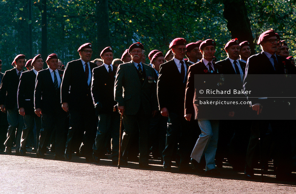 Veteran and former soldiers of the Parachute regiment parade through the streets of Westminster during the annual Armistice Day.
