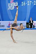 Rizatdinova Anna during qualifying at clubs in Pesaro World Cup at Adriatic Arena on April 27, 2013. Anna was born July 16, 1993 in Simferopol, she is a Ukrainian individual rhythmic gymnast.