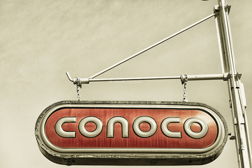 This retro Conoco sign stands out from an otherwise updated gas station at the north end of the Bonnie Brae business district. The station has been owned by the Wilson family since 1942.