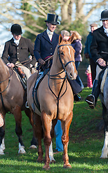 Gemma McCormick, Master of The Cottesmore Hunt, rides side saddle for  for their traditional Boxing Day Meet at Cutts Close in Oakham, Rutland, UK, 26th December 2012. Photo by Nico Morgan / i-Images.