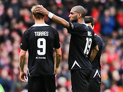 Fernando Torres is congratulated by Ryan Babel - Photo mandatory by-line: Dougie Allward/JMP - Mobile: 07966 386802 - 29/03/2015 - SPORT - Football - Liverpool - Anfield Stadium - Gerrard's Squad v Carragher's Squad - Liverpool FC All stars Game