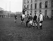 Irish Rugby Football Union, Ireland v Scotland, Five Nations, Ireland and Scotland practice at College Park, Dublin, Ireland, Friday 24th February, 1956,.24.2.1956, 2.24.1956,..Referee- H B Elliott, Rugby Football Union,..Score- Ireland 14 - 10 Scotland, ..P J Berkery, Wearing number 15 Irish jersey, Full back, Landsdowne Rugby Football Club, Dublin, Ireland,..W J Hewitt, Wearing number 14 Irish jersey, Right Wing, Instonians Rugby Football Club, Belfast, Northern Ireland,..N J Henderson, Wearing number 13 Irish jersey, Captain of the Irish team, Right centre, N.I.F.C, Rugby Football Club, Belfast, Northern Ireland,..A J O'Reilly, Wearing number 12 Irish jersey, Left Centre, Old Belvedere Rugby Football Club, Dublin, Ireland,  ..A C Pedlow, Wearing number 11 Irish jersey, Left Wing, Queens University Rugby Football Club, Belfast, Northern Ireland,..J W Kyle, Wearing number 10 Irish jersey, Outside Half, N.I.F.C, Rugby Football Club, Belfast, Northern Ireland,..J A O'Meara, Wearing number 9 Irish jersey, Scrum Half, Dolphin Rugby Football Club, Cork, Ireland, ..W B Fagan, Wearing number 1 Irish jersey, Forward, Wanderers Rugby Football Club, Dublin, Ireland, and, Moseley Rugby Football Club, Birmingham, England, ..R Roe, Wearing number 2 Irish jersey, Forward, London Irish Rugby Football Club, Surrey, England, and, Landsdowne Rugby Football Club, Dublin, Ireland,..B G Wood, Wearing number 3 Irish jersey, Forward, Garryowen Rugby Football Club, Limerick, Ireland, ..B N Guerin, Wearing  Number 4 Irish jersey, Forward, Bective Rangers Rugby Football Club, Dublin, Ireland, and, Galwegians Rugby Football Club, Galway, Ireland, ..L M Lynch, Wearing number 5 Irish jersey, Forward, Landsdowne Rugby Football Club, Dublin, Ireland, ..C T J Lydon, Wearing  Number 6 Irish jersey, Forward, Galwegians Rugby Football Club, Galway, Ireland, and, Monkstown Rugby Football Club, Dublin, Ireland, ..J R Kavanagh, Wearing number 7 Irish jersey, Forward, Wanderers Rugby Football Club, Dubl