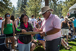 July 15, 2018 - Stateline, Nevada, U.S - Actor BRUCE MCGILL signs an autograph after completing the 17th hole during the 29th annual American Century Championship at the Edgewood Tahoe Golf Course, Stateline, Nevada, on Sunday, July 15, 2018. (Credit Image: © Tracy Barbutes via ZUMA Wire)
