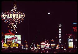 Las Vegas Strip at night, The Stardust Hotel & Casino. July 1973