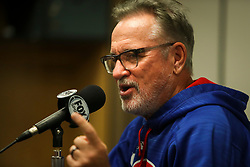 September 19, 2017 - St. Petersburg, Florida, U.S. - WILL VRAGOVIC   |   Times.Chicago Cubs manager Joe Maddon (70) talks with reporters during a press conference before the start of the game between the Chicago Cubs and the Tampa Bay Rays at Tropicana Field in St. Petersburg, Fla. on Tuesday, Sept. 19, 2017. (Credit Image: © Will Vragovic/Tampa Bay Times via ZUMA Wire)