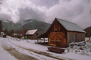 Old Barns, Bunk House, Outbuildings, Grizzly Peak, Genesee Valley, Town of Genesee, Genesee Valley Ranch, Winter, Fresh Snow, California Mountains