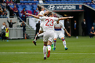 Camille Abily to OL and Lucy Bronze to OL and Eugenie Le Sommer to OL during the UEFA Women's Champions League, semi final, 2nd leg football match between Olympique Lyonnais and Manchester City on April 29, 2018 at Groupama stadium in Décines-Charpieu near Lyon, France - Photo Romain Biard / Isports / ProSportsImages / DPPI