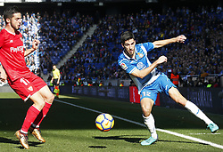 January 20, 2018 - Barcelona, Spain - Didac Vila and Correa during the La Liga match between RCD Espanyol and Sevilla FC played in the RCDEstadium, in Barcelona, on January 20, 2018. Photo: Joan Valls/Urbanandsport/Nurphoto  (Credit Image: © Joan Valls/NurPhoto via ZUMA Press)