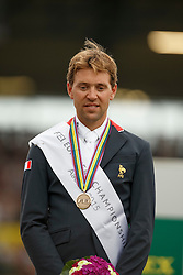 iIndividual podium, Delestre Simon, (FRA)<br /> Individual Final Competition round 2<br /> FEI European Championships - Aachen 2015<br /> © Hippo Foto - Dirk Caremans<br /> 23/08/15