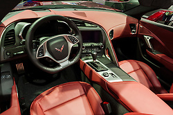 NEW YORK, USA - MARCH 23, 2016: Chevrolet Corvette Stingray convertible interior on display during the New York International Auto Show at the Jacob Javits Center.