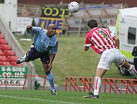 Photo: Paul Thomas.<br /> Stoke City v Manchester City. Pre Season Friendly.<br /> 30/07/2005.<br /> <br /> Tevor Sinclair puts a shot at goal.