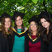 """25.08.2016          <br />  Faculty of Business, Kemmy Business School graduations at the University of Limerick today. <br /> <br /> Attending the conferring were Bachelor of Business Studies graduates, Kate O'Brien, Kildimo Co. Limerick, Karen Roche, Loughrea Co. Galway, Niamh Keeshan, Borisokane Co. Tipperary and Lisa Fitzgerald, Ballysimon Road, Limerick. Picture: Alan Place.<br /> <br /> <br /> As the University of Limerick commences four days of conferring ceremonies which will see 2568 students graduate, including 50 PhD graduates, UL President, Professor Don Barry highlighted the continued demand for UL graduates by employers; """"Traditionally UL's Graduate Employment figures trend well above the national average. Despite the challenging environment, UL's graduate employment rate for 2015 primary degree-holders is now 14% higher than the HEA's most recently-available national average figure which is 58% for 2014"""". The survey of UL's 2015 graduates showed that 92% are either employed or pursuing further study."""" Picture: Alan Place"""