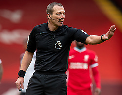 LIVERPOOL, ENGLAND - Sunday, March 7, 2021: Referee Kevin Friend during the FA Premier League match between Liverpool FC and Fulham FC at Anfield. Fulham won 1-0 extending Liverpool's run to six consecutive home defeats. (Pic by David Rawcliffe/Propaganda)