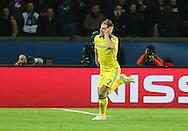Chelsea's Branislav Ivanovic celebrates his goal during the Champions League match between Paris Saint-Germain and Chelsea at Parc des Princes, Paris, France on 17 February 2015. Photo by Phil Duncan.