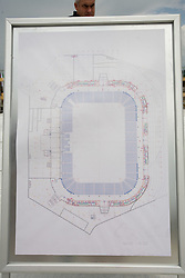 Map of football court at open door day 1 year before opening of new football stadium and sports hall in Stozice,  on June 30, 2009, at Stadium Stozice, Ljubljana, Slovenia. (Photo by Vid Ponikvar / Sportida)
