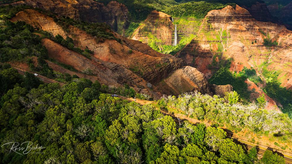 Waipoo Falls and the Waimea Canyon highway (aerial), Waimea Canyon State Park, Kauai, Hawaii USA
