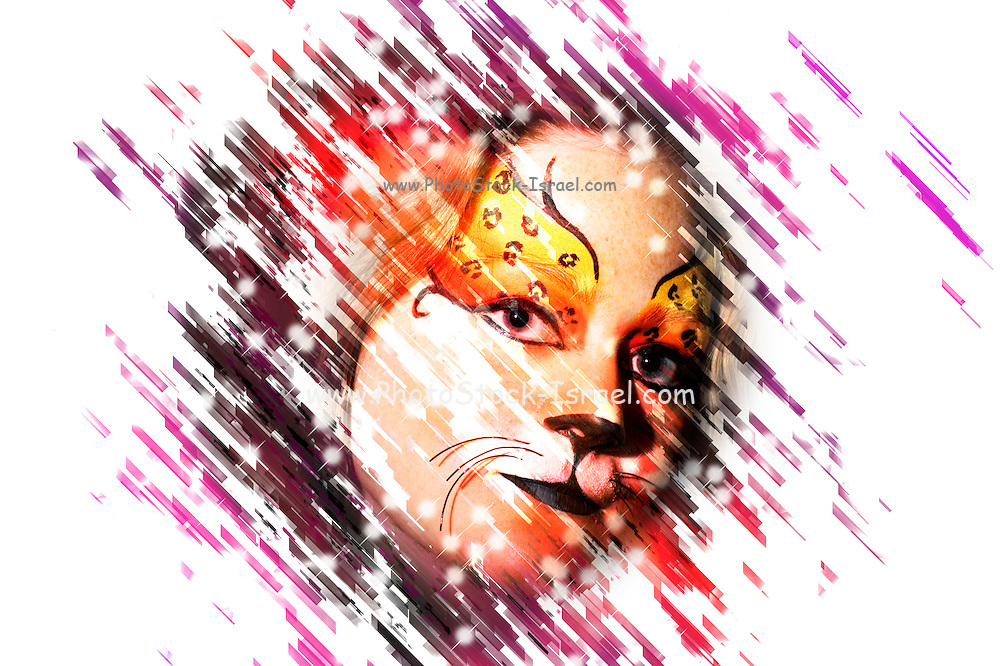 Digitally manipulated young teenage female model with elaborate tiger make up mask