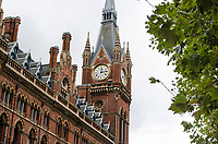 Clock Tower, St Pancras Renaissance Hotel, St Pancras, London, UK. At the same location is St Pancras Railway Station from where the Eurostar high speed trains operate to Continental Europe via the Channel Tunnel. The St Pancras Complex also incorporates many big name stores and restaurants. 201609044279<br /> <br /> Copyright Image from Victor Patterson, 54 Dorchester Park, Belfast, UK, BT9 6RJ<br /> <br /> t1: +44 28 9066 1296 (from Rep of Ireland 048 9066 1296)<br /> t2: +44 28 9002 2446 (from Rep of Ireland 048 9002 2446)<br /> m: +44 7802 353836<br /> <br /> victorpattersonbelfast@gmail.com<br /> www.victorpatterson.com<br /> <br /> Please see my Terms and Conditions of Use at http://www.c1382010.myzen.co.uk/pdf/Terms%20&%20Conditions.pdf  It is IMPORTANT that you familiarise yourself with them.<br /> <br /> Images used on the Internet incur an additional cost and must be visibly watermarked i.e. ©Victor Patterson within the body of the image and copyright metadata must not be deleted. Images used on the Internet have a size restriction of 4kbs and are chargeable at rates available at victorpatterson.com.<br /> <br /> This image is only available for the use of the download recipient i.e. television station, newspaper, magazine, book publisher, etc, and must not be passed on to any third party. It is also downloaded on condition that each and every usage is notified within 7 days to victorpatterson@me.com<br /> <br /> The right of Victor Patterson to be identified as the author is asserted in accordance with The Copyright Designs And Patents Act (1988). All moral rights are asserted.