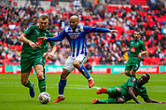 Cray Valley's Paul Semakula (8) and Cray Valley's Ashley Sains (5)  challenge Chertsey Town's Dale Binns (11) during the FA Vase final match between Chertsey Town and Cray Valley at Wembley Stadium, London, England on 19 May 2019.