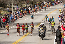 2014 Boston Marathon: lead pack of elite women race passes mile 19 in the Newton Hills, Shalane Flanagan