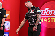 Gerwyn Pricere action to missing a shot during the PDC Ladbrokes Masters 2021 at Marshall Arena, Milton Keynes, United Kingdom on 31 January 2021.