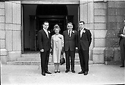 28/07/1962<br /> 07/28/1962<br /> 28 July 1962 <br /> Wedding of Mr Desmond F. English, Landscape Cresent, Churchtown and Miss Blanche O'Brien Oakley Park, Blackrock at St John the Baptist Church, Blackrock and Ross's Hotel Dun Laoghaire, Dublin. Image shows the Groom's party outside the church after the ceremony.