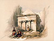 The tomb of Zechariah outside Jerusalem's city walls in the valley of Jehoshaphat, Israel. Coloured lithograph by Louis Haghe after David Roberts