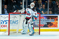 KELOWNA, BC - DECEMBER 27:  Cole Schwebius #31 of the Kelowna Rockets stands in net after a second period goalie change against the Kamloops Blazers at Prospera Place on December 27, 2019 in Kelowna, Canada. (Photo by Marissa Baecker/Shoot the Breeze)