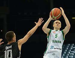 Domen Janc of Slovenia during basketball match between National teams of Slovenia and Germany in Division A of U16 Men European Championship Lithuania 2012, on July 20, 2012 in Panevezys, Lithuania. (Photo by Robertas Dackus / Sportida.com)