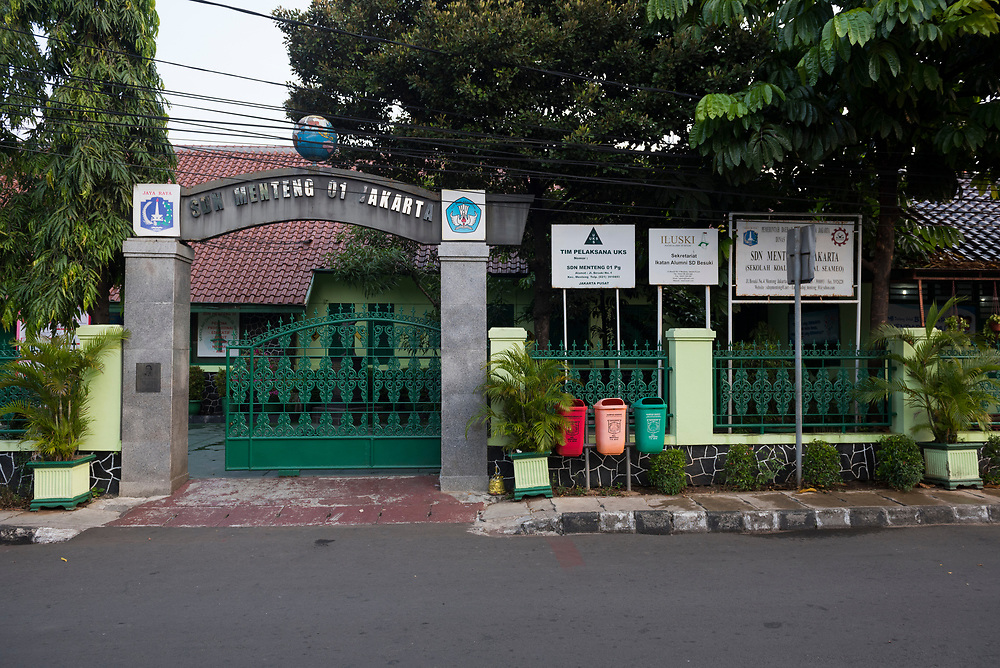 Jakarta, Indonesia - July 10, 2017: Street view of SDN Menteng 1 government-run school, where from 1969 to 1971 Barack Obama attended school when he lived in Jakarta, Indonesia.