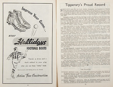 All Ireland Senior Hurling Championship Final,.Brochures,.04.09.1949, 09.04.1949, 4th September 1949, .Tipperary 3-11, Laois 0-3, .Minor Kilkenny v Tipperary, .Senior Tipperary v Laois, .Croke Park, ..Advertisements, Hallidays Football Boots, ..Articles, Tipperary's Proud Record,