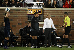 October 7, 2017 - Minneapolis, MN, USA - Minnesota United head coach Adrian Heath yells at an official who approached him after he clashed with Sporting Kansas City midfielder Ilie Sanchez (6) on the sidelines in the first half on Saturday, Oct. 7, 2017, at TCF Bank Stadium in Minneapolis. The teams tied, 1-1. (Credit Image: © Anthony Souffle/TNS via ZUMA Wire)