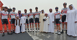 March 1, 2019 - Ajman, United Arab Emirates - Sheikh Ahmed bin Humaid Al Nuaimi, Chairman of the Economic Department of Ajman Emirate meets with members of UAE Team Emirates, at the start line of the sixth Rak Properties Stage of UAE Tour 2019, a 180km with a start from Ajman and finish in Jebel Jais. .On Friday, March 1, 2019, in Ajman, Ajman Emirate, United Arab Emirates. (Credit Image: © Artur Widak/NurPhoto via ZUMA Press)