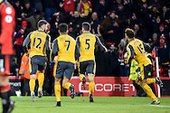 Arsenal Forward, Olivier Giroud (12) scores to make it 3-3 turns to celebrate during the Premier League match between Bournemouth and Arsenal at the Vitality Stadium, Bournemouth, England on 3 January 2017. Photo by Adam Rivers.