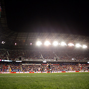 Players contest for the ball with a backdrop of a packed Red Bull Arena during the New York Red Bulls Vs NYCFC, MLS regular season match at Red Bull Arena, Harrison, New Jersey. USA. 10th May 2015. Photo Tim Clayton