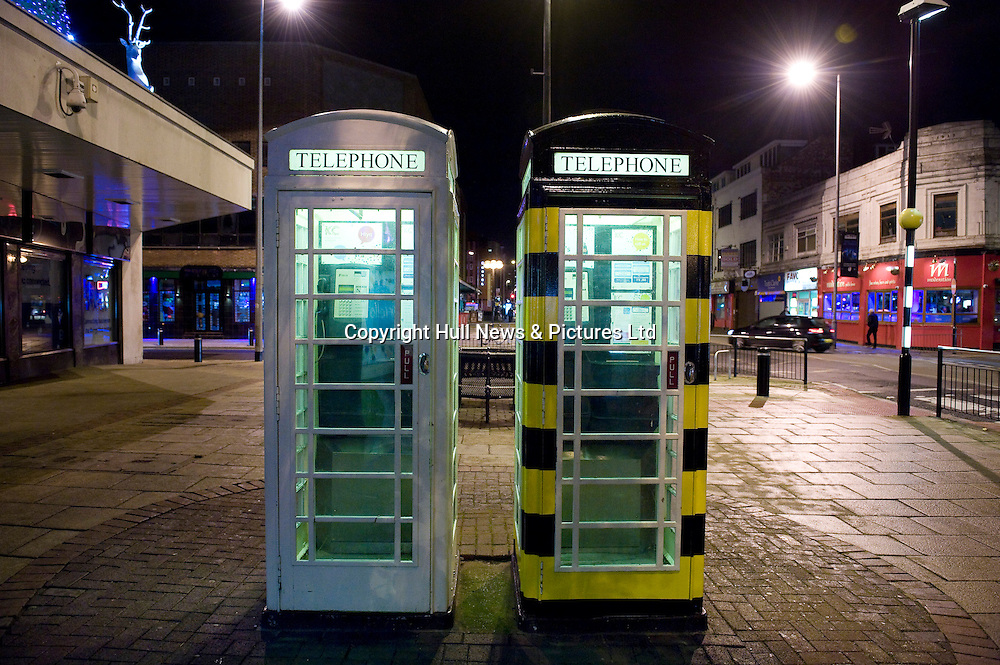 19 November 2013: KC cream telephone boxes in Carr Lane, Hull, East Yorkshire. Including a 'bee' telephone box.<br /> Picture: Sean Spencer/Hull News & Pictures Ltd<br /> 01482 772651/07976 433960<br /> www.hullnews.co.uk   sean@hullnews.co.uk