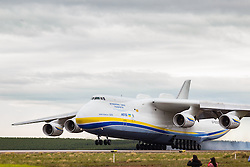 November 14, 2016 - Sao Paulo, Brazil - Ukrainian Antonov An-225 Mriya, the world's largest cargo plane, landing at Viracopos International Airport, about 100km far from Sao Paulo. The aircraft will pick up a generator with a total weight about 150 tons in Guarulhos and will deliver it to the city of Santiago, in Chile. (Credit Image: © Paulo Lopes via ZUMA Wire)