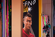 Portugals national hero, the footballer Christiano Ronaldo, has his face distorted on beach towel merchandising in a parody detail, on 18th July 2016, at Costa Novo, near Aveira, Portugal. Ronaldo is one of the worlds sporting superstars, especially after his teams recent historic victory over France in the final of the Euro 2016 tournament.