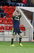 Lee Tomlin celebrates Middlesbrough's third goal during the Sky Bet Championship match between Rotherham United and Middlesbrough at the New York Stadium, Rotherham, England on 1 November 2014.