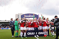 Arsenal women celebrate winning the Women's Super League after  the FA Women's Super League match between Arsenal Women FC and Manchester City Women at Meadow Park, Borehamwood, United Kingdom on 12 May 2019.