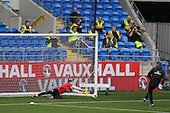 Wayne Hennessey , the Wales goalkeeper goes through his routine watched by workers at the stadium during Wales football team training at the Cardiff city Stadium in Cardiff , South Wales on Saturday 8th October 2016, the team are preparing for their FIFA World Cup qualifier home to Georgia tomorrow. pic by Andrew Orchard, Andrew Orchard sports photography