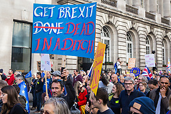 London, UK. 19 October, 2019. Hundreds of thousands of pro-EU citizens join the Together for the Final Say People's Vote March as MPs meet in a 'super Saturday' Commons session, the first such sitting since the Falklands conflict, to vote, subject to any amendments, on the Brexit deal negotiated by Prime Minister Boris Johnson with the European Union.
