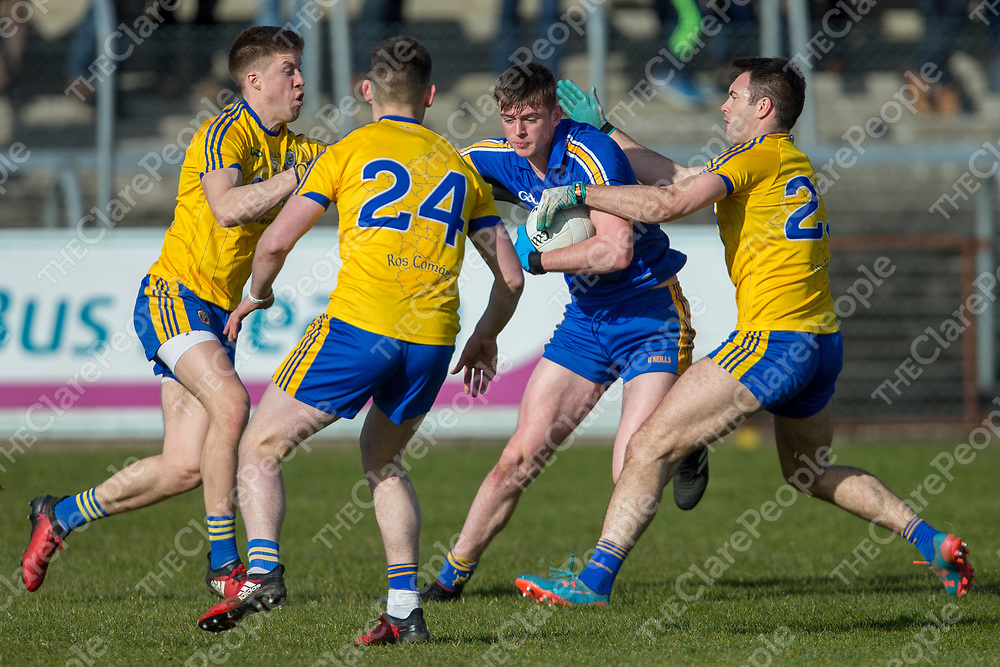 Clare's Darragh Bohannon surrounded by the Roscommon defence